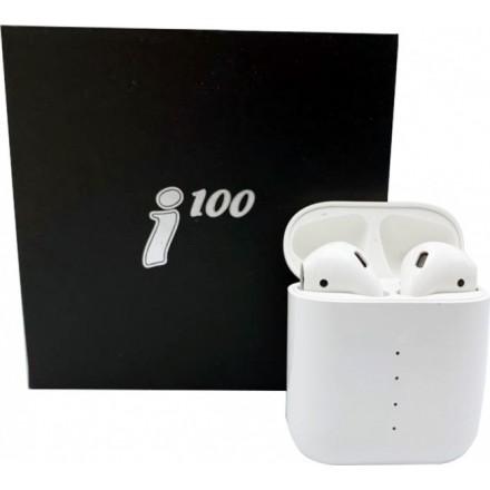 Беспроводные Bluetooth наушники i100-TWS белые (Сенсорные, Стерео, Pop-Up Окно, Беспроводная зарядка)